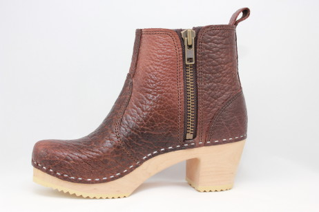 Edith Zipper Boot High Heel<br />Brown Bison
