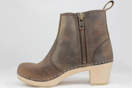 Edith Zipper Boot High Heel<br />Brown Roughman