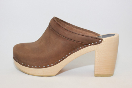 brown emily open back clog