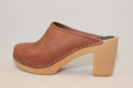 Emily DS Open Back Clog<br />Natural Oil Tan