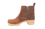 Edith Zipper Boot Low HeelBrown Waxy Suede